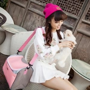 PU Leather and Mesh Pink Pet Carrier